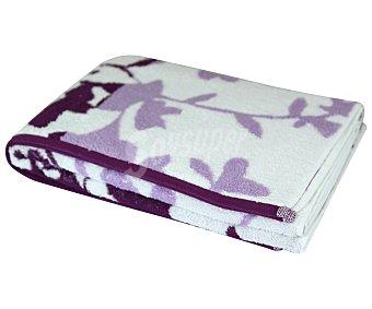 Actuel Toalla de ducha 100% algodón, /m² de densidad, color morado con diseño jacquard Hojas 500g