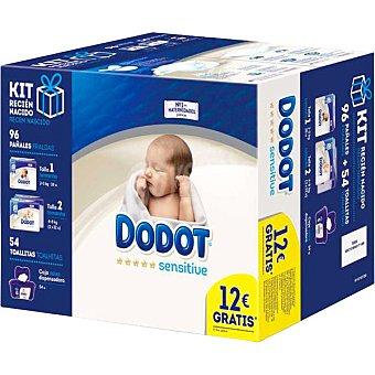 Dodot Sensitive kit recién nacido con pañales talla 1 paquete 28 unidades + pañales talla 2 + caja dispensadora toallitas 54 unidades 2 paquetes 32 unidades