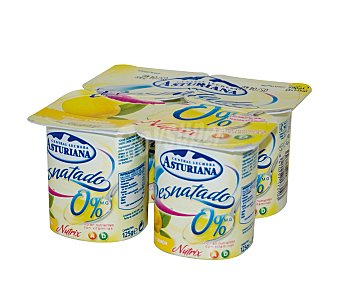 Central Lechera Asturiana Yogur desnatado limón Pack 4 Unidades de 125 Gramos