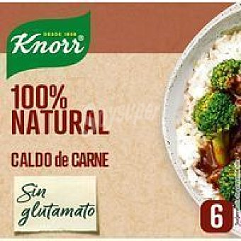 Knorr Caldo de carne 100% natural 6 pastillas, caja 66 g
