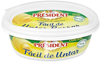 President Mantequilla fácil untar con sal Tarrina de 250 Gramos