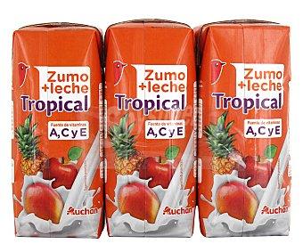 Auchan Zumo con frutas tropical 3 Unidades 330 Mililitros