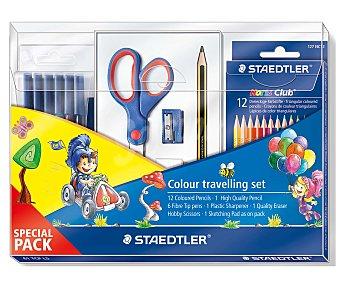 Staedtler Lote compuesto por 12 lápices de colores, 6 rotuladores de colores, 1 tijera con mango bimaterial, 1 sacapuntas 1 goma de color blanco, 1 lápiz de dureza HB y 1 cuaderno para dibujar 1 unidad