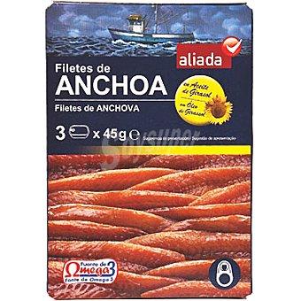 Aliada Filetes de anchoa en aceite girasol neto escurrido Pack 3 lata 29 g