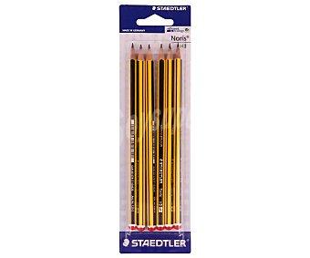 Noris staedtler Lote de 6 lápices de gráfito, con cuerpo de color amarillo y negro y dureza 2HB Noris