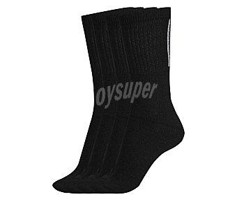IN EXTENSO Pack de 4 pares de calcetines deportivos de rizo bordados, color negro, talla única Pack de 4