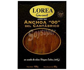 Lorea Gourmet Filetes de anchoas del Cantábrico en aceite de oliva virgen Envase 100 gr (60 gr neto escurrido)