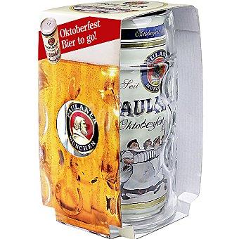 Paulaner cerveza rubia alemana con regalo de una jarra lata 1 l
