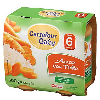 Carrefour Baby Tarrito de arroz con pollo Pack 2x250 g