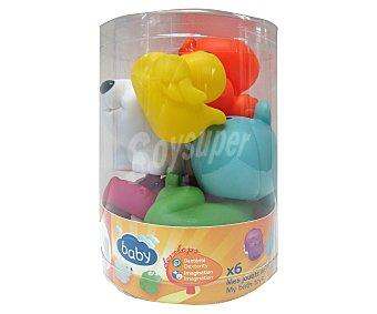 6 animales de goma de colores para baño baby.