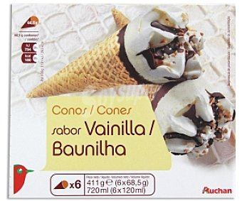 Auchan Cono de Vainilla Pack 6 Unidades de 120 Mililitros