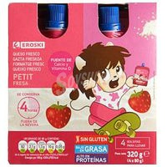 Eroski Petit de bolsillo sabor fresa Pack 4x80g