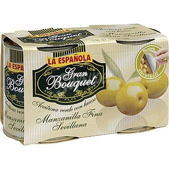 La Española Aceitunas manzanilla fina sevillana con hueso Gran Bouquet  Pack 2x110 g neto escurrido