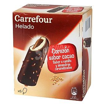 Carrefour Helado bombón de cacao, vainilla y almendras 6 ud