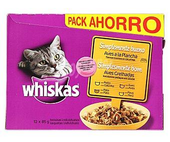 Whiskas Comida húmeda para gatos simplemente bueno ave Pack 12 u x 85 g