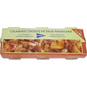 Hipercor Calamares trozos en salsa americana neto escurrido Pack 3 lata 51 g