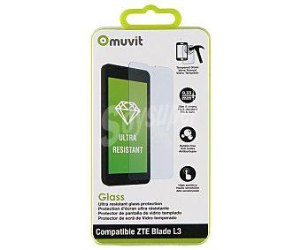 Muvit Protector de pantalla, cristal templado, compatible con ZTE Blade L3 3 protect.pant