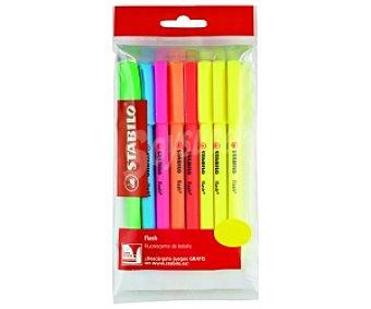 STABILO BOSS Marcadores Fluorescentes Modelo Flash, Fino, de Bolsillo con Clip, 6 Colores 8 Unidades