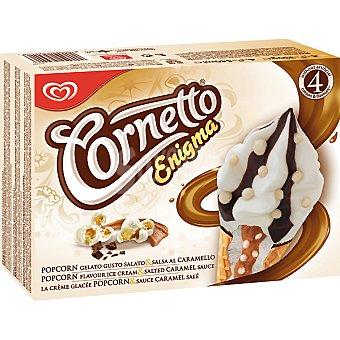 Cornetto Frigo Cono helado con palomitas y caramelo Enigma Pop Corn 4 unidades estuche 360 ml 4 unidades