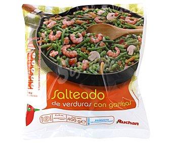 Auchan Salteado de verduras con gambas 400 gramos