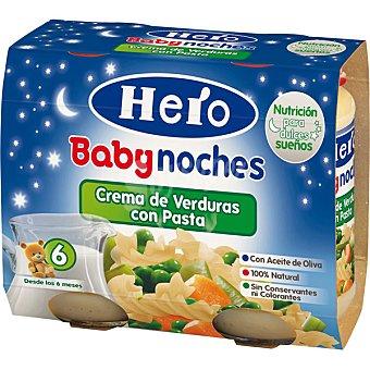 HERO BABY NOCHES Tarrito de crema de verduras con pasta 100% natural 2x190g envase 380 g 2x190g