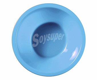 Nv corporacion Cuenco desechable de plástico color azul, 0,45 litros de capacidad, 14 centímetros de diámetro 6 unidades