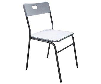 SDPE Silla de cocina fabricada en aluminio con asiento y respaldo de Pvc, modelo Miu color blanco, 80x45x52 centímetros 1 Unidad