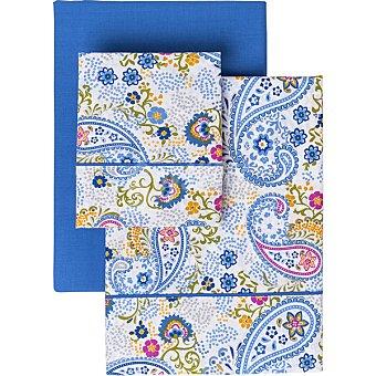 Casactual Cachemir Juego de sábanas Amebas color azul Cama 150 cm