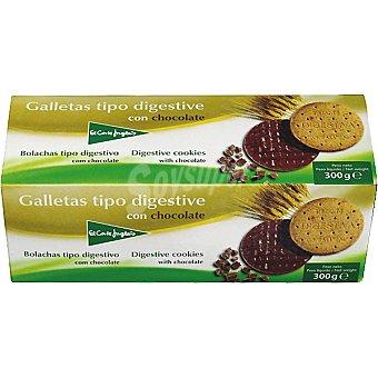 El Corte Inglés Galletas tipo Digestive con chocolate Paquete 300 g