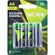Pila alcalina AA(LR6) 15 voltios 0% mercurio y cadmio blister  8 unidades Inves