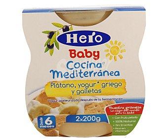 Hero Baby Tarrito de plátano yogur griego y galletas Cocina Mediterránea estuche 400 g pack 2x200 g