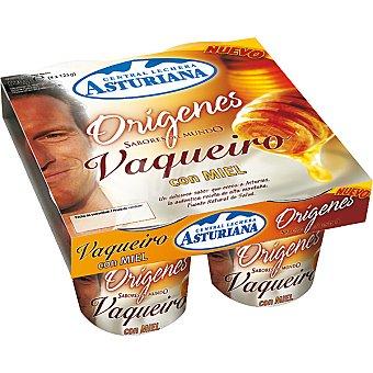 Central Lechera Asturiana Yogur natural Orígenes con miel Vaqueiro Pack 4 unidades 125 g