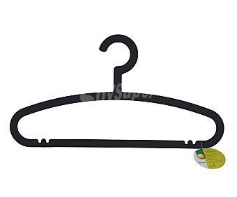 Auchan Percha de plástico con barra color negro para camisas 1 Unidad