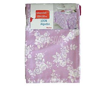 AUCHAN Mantel estampado floral color violeta, 100% algodón, 150x150 centímetros 1 Unidad
