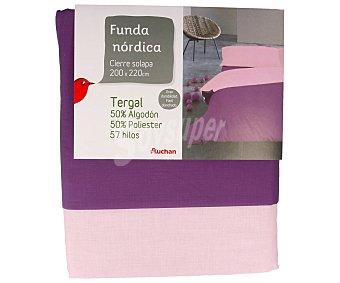 Auchan Funda nórdica color morado bicolor para cama de 135 centimetros 1 unidad