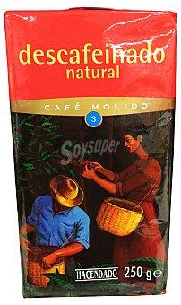 Hacendado Cafe molido descafeinado natural Nº3 (medio) Paquete 250 g