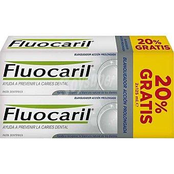 Fluocaril Blanqueador pasta dentífrica que ayuda a recuperar la blancura natural de los dientes Pack 2 unidades de 125ml