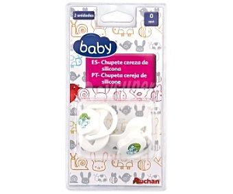 Baby Chupete cereza de silicona, 0-4 Meses, Blanco 2 Unidades