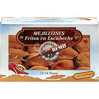 REMO Mejillones en escabeche fritos 12-14 piezas lata 70 g neto escurrido Lata 70 g neto escurrido