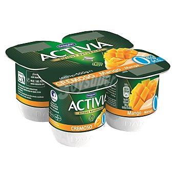 DANONE ACTIVIA Yogur cremoso 0% materia grasa sabor mango  pack 4 unidades 120 g