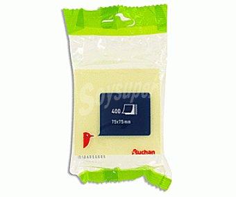 Auchan Taco de 400 notas adhesivas, cuadradas de 75x75 milímetros y de color amarillo 1 unidad