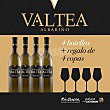 Vino blanco D.O. Rías Baixas caja 4 botellas 75 cl + 4 copas de regalo 4 botellas 75 cl + 4 copas Valtea