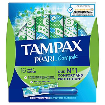 Tampax Compak Pearl super tampón Caja 18 uds