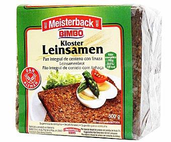MEISTERBACK de Bimbo Pan integral alemán de centeno con linaza en rebanadas 500 gramos