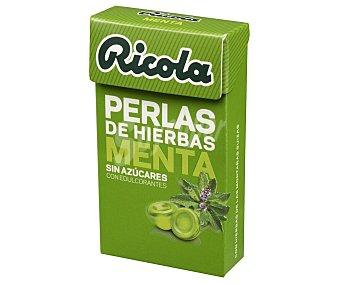 Ricola Perlas de hierbas suizas, sin azúcar y con edulcorantes y con sabor a menta 25 g
