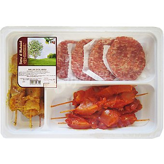 SIERRA EL MADROÑAL surtido especial barbacoa con 4 hamburguesas, pinchos morunos y adobados  bandeja 1130 g