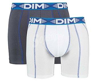 DIM 3D Flex Air Long Pack de 2 calzoncillos bóxer, color blanco/gris, talla M.