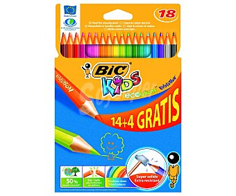 Bic Caja con 18 lápices para colorear, con mina extra dura y hechos de madera reciclada al 50% 1 unidad
