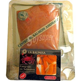 La balinesa centro de salmón ahumado + regalo surimi sabor cangrejo envase 300 g bandeja 400 g