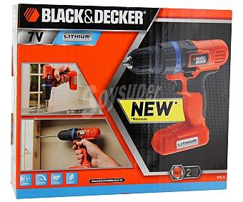 Black&Decker Taladro atornillador sin cable, reversible y con batería de litio de 7 voltios 1 unidad